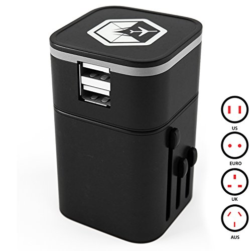 Venture 4th 3.2A Universal USB Travel Adapter Charger - Black