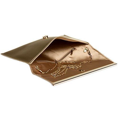 Bolso Con Ta405 Damas Baguette Embrague De De Caspar Decoración Metal Oro Noche De Estilo rHTrz