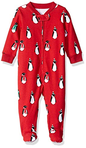 Amazon Essentials Baby Zip-Front Footed Sleep and Play, Penguin, 3-6M