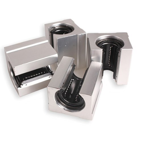 SODIAL(R) 4x Aluminum Linear sliding block Motion Router Solid Block C Silver (SBR20UU,20mm)