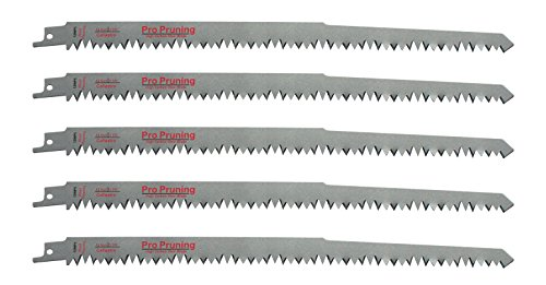 Wood Pruning Saw (12-Inch Wood Pruning Reciprocating / Sawzall Saw Blades (5 TPI) - 5 Pack)