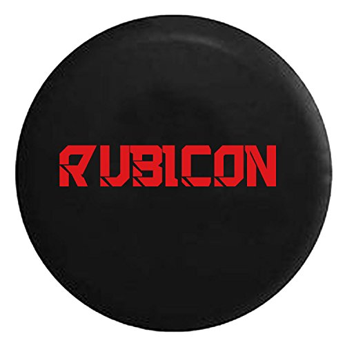 Rubicon Hard Rock Climbing Spare Jeep Wrangler Camper SUV Tire Cover Red Ink 32 in