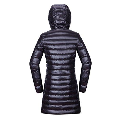 Long Hoodie Jacket emansmoer Windproof Down Outerwear Puffer Long Warm Parka Sleeve Women's Ultra Light Black Winter Coat Duck OCxOA7Fq