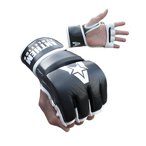 Anthem Athletics PREDATOR MMA Gloves - Training, Kickboxing, 100% Highest Grade Leather - Black & White - Large