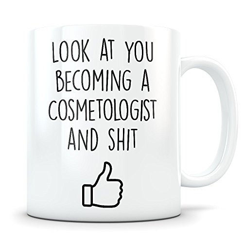 Cosmetology School Graduation Gifts - Cosmetologist Graduates - Cosmetics Coffee Mug for Men and Women School Students Class of 2018 - Funny Grad Diploma or Academic Degree Congratulations ()