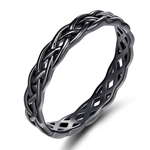 (SOMEN TUNGSTEN 925 Sterling Silver Celtic Knot Eternity Band Ring Engagement Wedding Band 4mm Size 4-11)