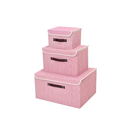 Foldabe Storage Box Set of 3 with Lids Collapsible Large Linen Storage Bins for Home Decor Closet Shelf Living Room Nursery Storage and Organize(Pink)