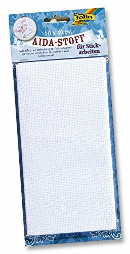 Folia 23402 - Aida-Stoff, 1 Bogen, 50 x 49 cm, weiß