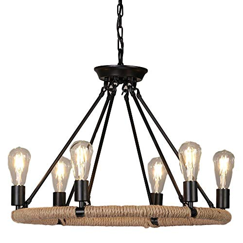 (A Touch of Design - Vintage 8 Light Rustic Style Hemp Rope Chandelier - Kitchen Ceiling Hanging Light Fixture - Exposed Bulbs)