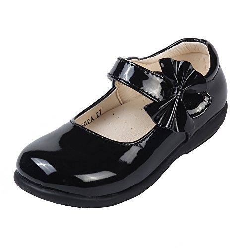 MK MATT KEELY Girls' Black Leather Shoes School Uniform Leisure Mary Jane Flower Princess Shoes 3 M US Little Kid