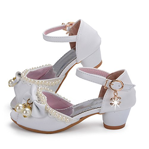 Price comparison product image Acereima Children Girls Wedding Shoes Dress Party Pearl Shoes for Baby Girls Soft Leather Princess Sandals,11.5