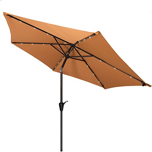 Punchau 9 Ft Solar Powered Patio Umbrella with LED Lights – Nutmeg Tan Outdoor Market Umbrellas with Tilt on Sale
