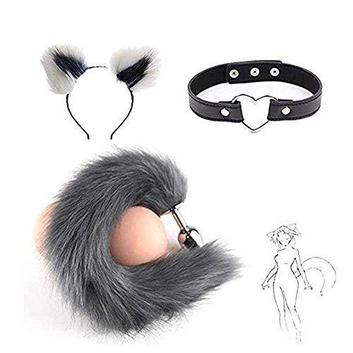 Disfraz de felpa para gato con diadema de oreja y cola de zorro de metal B-utt P-l-ǔ-g con lindo panuelo de gatito campana (blanco y gris)