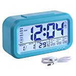 HandAcc Digital Alarm Clock, Backlight LCD Large Display Smart Clock 3 Alarms, Battery Rechargeable USB Charger