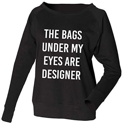 Sudadera LAS BOLSAS BAJO MIS OJOS ARE Diseñador Jersey Sudadera Amplio Ancho Escote Top Disponible en color gris o Negro Ropa Cómoda ropa de descanso: ...