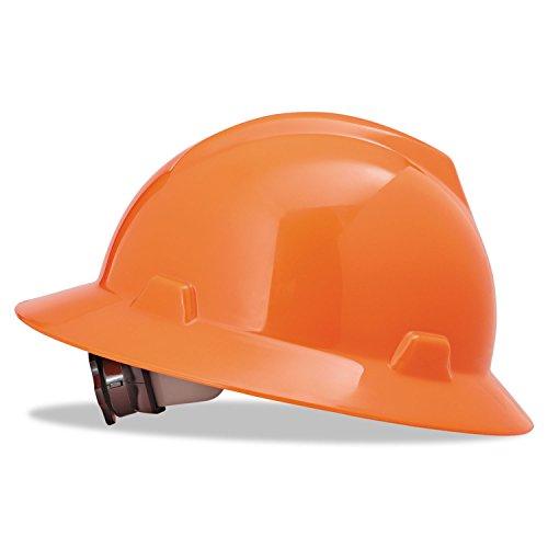 Msa Safety 10021292 Polyethylene V Gard Protective Hat With Fas Trac Suspension  Hi Viz Orange