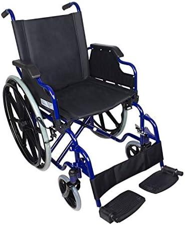 Mobiclinic, modelo Giralda, Silla de ruedas plegable, ortopédica, para minusválidos, de aluminio, reposapiés y reposabrazos extraíbles, Azul y Negro, asiento 46 cm, ultraligera