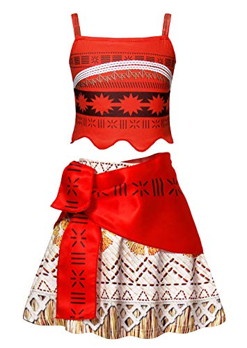 AmzBarley Girls Moana Costumes Kids Moana Birthday Theme Party Halloween Dresses Fancy Dress up 2-Pieces Skirt Sets Holiday Outfits Size 8