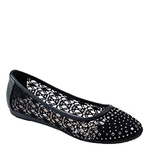 Brieten Womens Floral Emboid Studded Flat Shoes (11, Taupe)