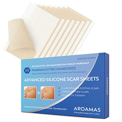 Aroamas Professional Silicone Scar Sheets, Soften and Flattens Scars Resulting from Surgery, Injury, Burns, Acne, C-section and more, Soft Silicone Scar Strips, 3