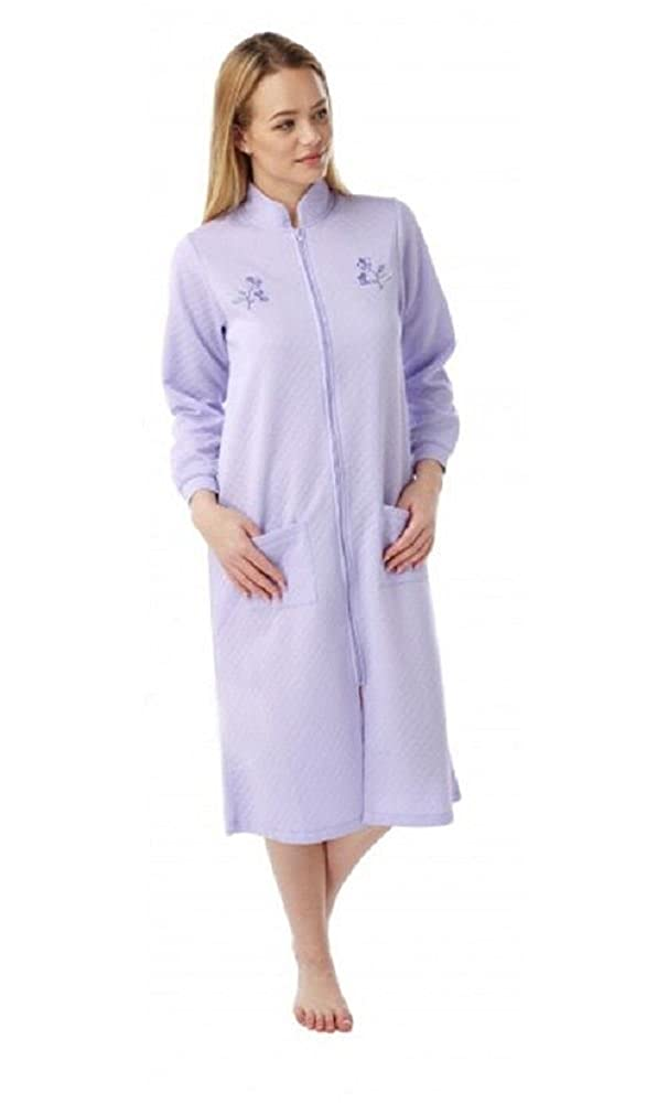 Ladies Lightweight Quilted Zip Dressing Gowns With Embroidery Marlon Size 10-26