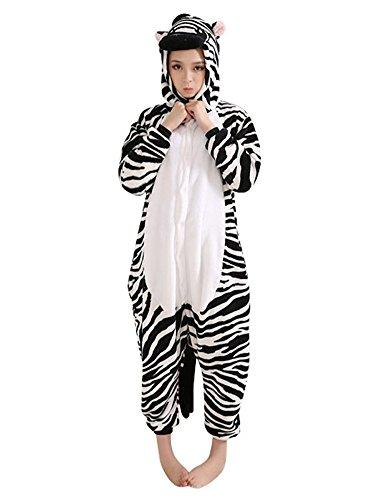 SaiDeng Unisex Adult Kigurumi Cosplay Costume Animal Sleepwear Pajamas Size S Zebra
