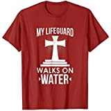 Mens My Lifeguard Walks On Water Christian Message T-Shirt Large Cranberry