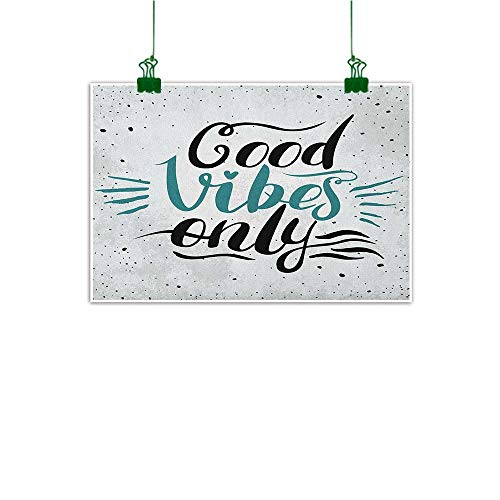 - Canvas Print Wall Art Good Vibes Stylized Hand Letters Calligraphy Dots Wavy Lines and Little Heart Modern Teal Black Beige Wall Stickers W36 x H24