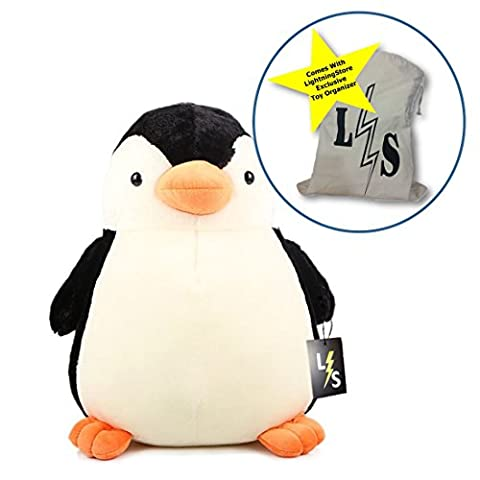 LightningStore Cute Fat Penguin Doll Realistic Looking Stuffed Animal Plush Toys Plushie Children's Gifts Animals + Toy Organizer Bag - Doug Plush Border Collie