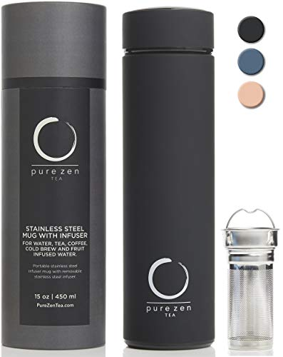 Pure Zen Tea Thermos with Infuser - Stainless Steel Insulated Tea Infuser Tumbler for Loose Leaf Tea, Iced Coffee and Fruit-Infused Water - Leakproof Tea Tumbler With Infuser - 15oz - Black (Thermos Tea Tumbler)