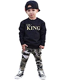 Baby Boy – Letra t shirt Tops + Pantalones de camuflaje ropa ropa Set