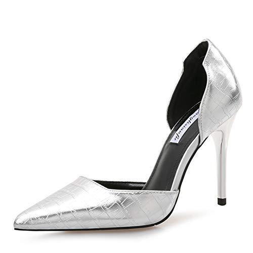 Hauts Escarpin Sexy 9 Silver Cm Aiguilles Elégant Shoes Escarpins Talons Chaussures Femmes Hnm IBCY0x