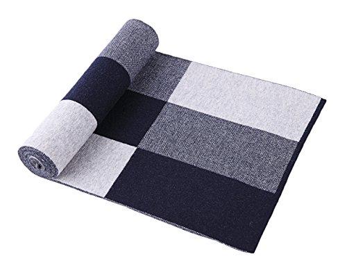 RIONA Men's 100% Australian Soft Merino Wool Knitted Plaid Warm Scarf