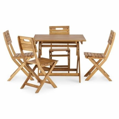Blooma Denia Wooden 4 Seater Dining Set with 4 Standard Chairs (Standard Size Of 4 Seater Dining Table)