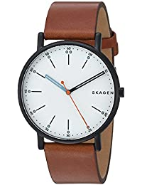 Skagen Men's 'Signatur' Quartz Stainless Steel and Leather Casual Watch, Color:Brown