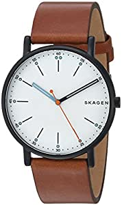 Skagen Men's 'Signatur' Quartz Stainless Steel and Leather Casual Watch, Color:Brown (Model: SKW6374)