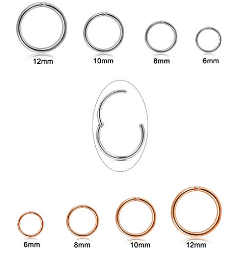 (Jstyle 8Pcs 16G Stainless Steel Improved Hinged Clicker Segment Nose Rings Hoop Helix Cartilage Daith Tragus Sleeper Earrings 6-12MM)