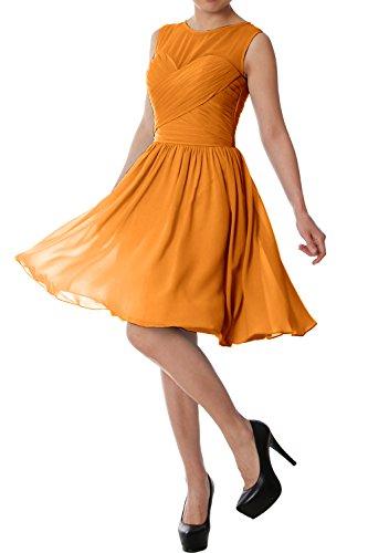 O MACloth Wedding Gold Dress Short Gown Neck Bridesmaid Formal Party Elegant Chiffon 6W6qU0F5wn