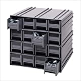 Quantum QIC-122GY Interlocking Gray Storage Cabinet with 12 Gray Drawers, 11.38-Inch by 11-3/4-Inch by 11-Inch