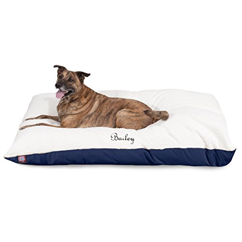 Embroidered Dog Beds - Majestic Pet Soft Plush Personalized Pet Pillow Dog Bed Custom Embroidered - Removable Pet Bed Cover - Large Blue