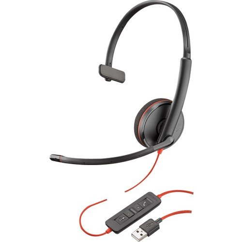 Plantronics Blackwire C3210 Headset - Mono - USB Type A - Wired - 20 Hz - 20 kHz - Over-The-Head - Monaural - Supra-aural - Noise Cancelling Microphone 209744-22
