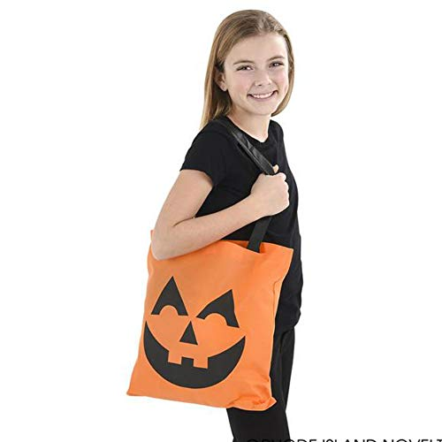 Halloween Fabric Jack O Lantern Tote Bag Trick or Treat Goody Party Loot Bags for Kids (1dozen)