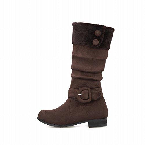 Carolbar Women's Charm Concise Buckle Low Heel Nubuck Mid Calf Snow Boots Brown 7KWMo