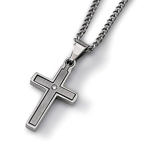 Diamond Titanium Necklace (Titanium .03ct. Diamond Accent Cross Necklace 22'' inches length)