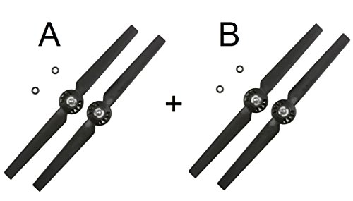 2 Pack Yuneec Black Propeller Sets / Rotor Blades A and B (YUNQ4K115A) (YUNQ4K115B), For Q500 4K, Q500, Q500+ Quadcopter, Clockwise and Counter-Clockwise Rotation