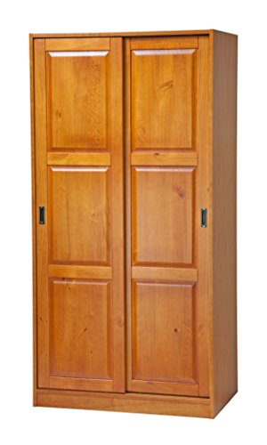 100% Solid Wood 2-Sliding Door Wardrobe/Armoire/Closet/Mudroom Storage by Palace Imports, Honey Pine. 1 Large Shelf, 1 Clothing Rod Included. Extra Optional Shelves Sold Separately. Requires Assembly
