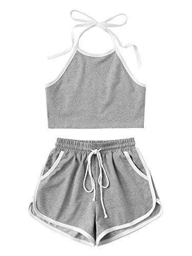 SweatyRocks Women's 2 Piece Outfits Halter Sleeveless Crop Cami Top with Shorts (Large, Grey#)