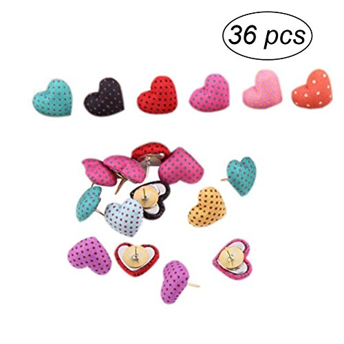 NUOLUX 36pcs Cute Thumbtack Pushpins Polka Dots Heart Shape Pins Decorative DIY Tool for School Home and Office Use (Random Color)