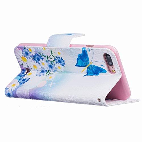 Custodia Apple iPhone 7 Pro Cover Case, Ougger Moda Print Portafoglio PU Pelle Magnetico Stand Morbido Silicone Flip Bumper Protettivo Gomma Shell Borsa Custodie con Slot per Schede