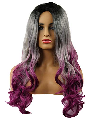 TopWigy Women Purple Ombre Wavy Wig 24 Inches Synthetic Heat Resistance Middle Part Long Colored Drag Wig for Cosplay Costume Party -
